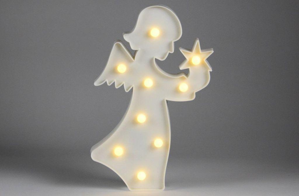Vianočné dekoratívne osvetlenie - anjelik - 9 LED teplá biela