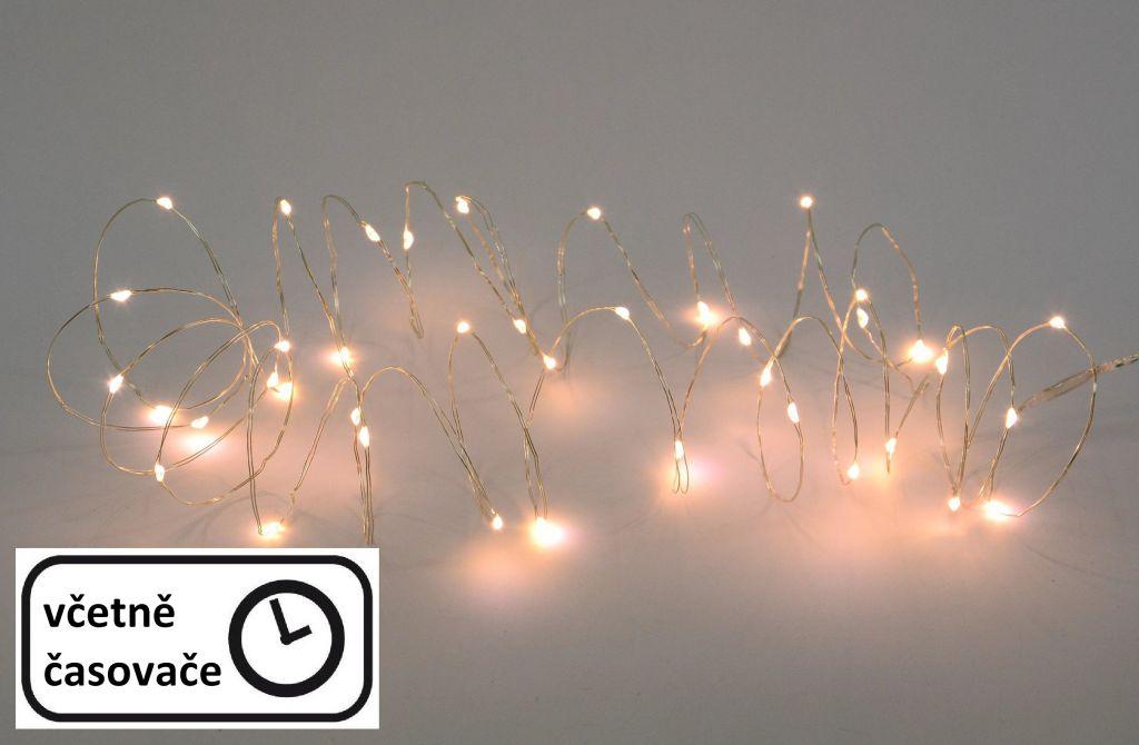LED osvetlenie - strieborný drôt - 60 LED teplá biela
