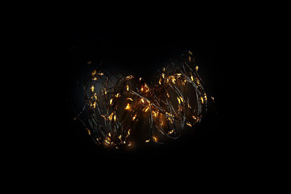 LED osvetlenie - strieborný drôt - 80 LED teplá biela