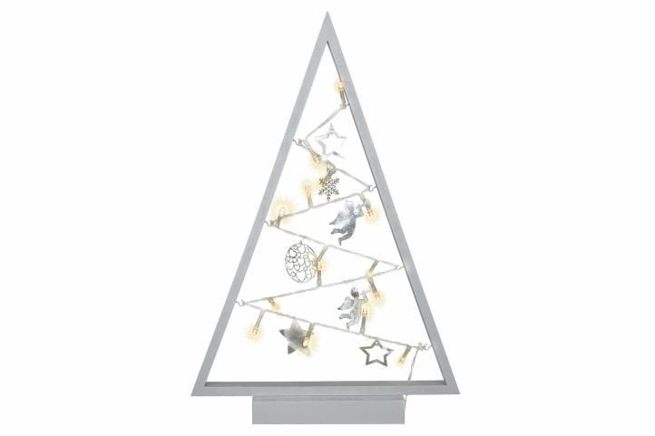 Svetelná dekorácia sivá - Vianoce - 15 LED teplá biela