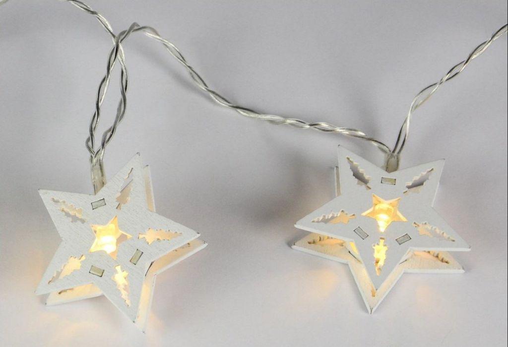 Vianočná dekoratívna reťaz HOLZ - biela hviezda - 10 LED