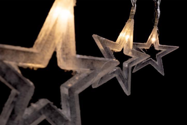 Vianočné dekoratívne osvetlenie - trblietavé hviezdy - 10 LED teplá biela