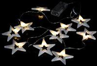 Vianočné dekoratívne osvetlenie - trblietavé hviezdy - 20 LED teplá biela