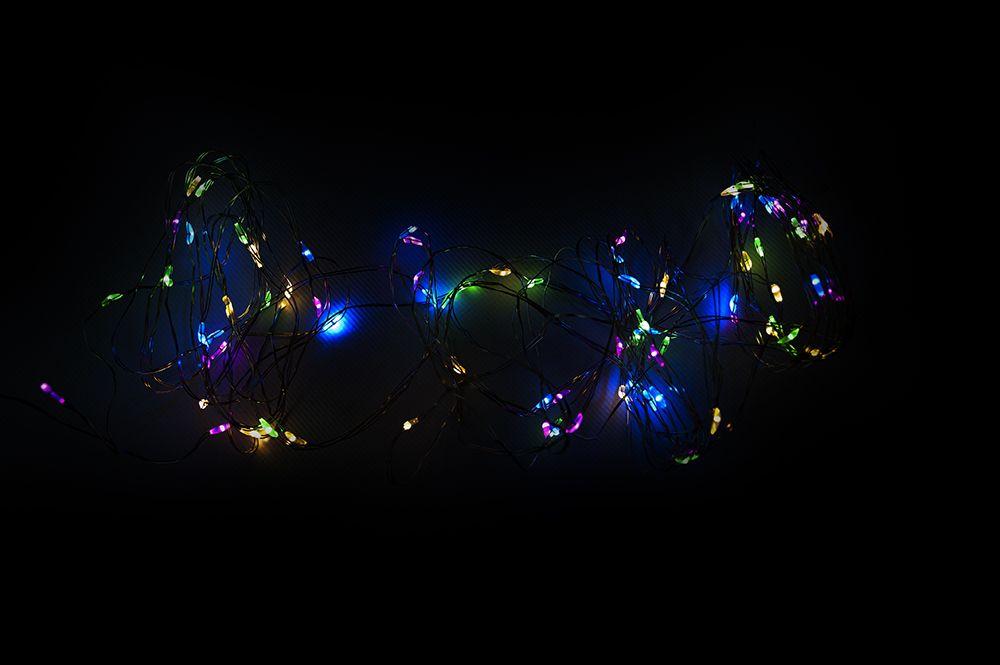 LED osvetlenie - strieborný drôt - 60 LED farebné