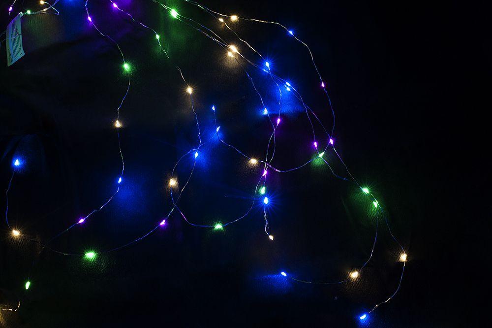 Vianočné dekoratívne osvetlenie - drôtiky - 64 LED farebné