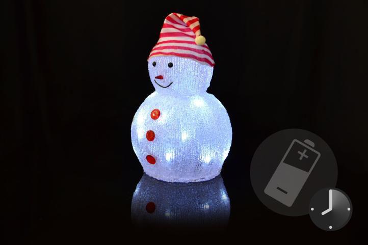 Vianočná dekorácia - akrylový snehuliak, studeno biely