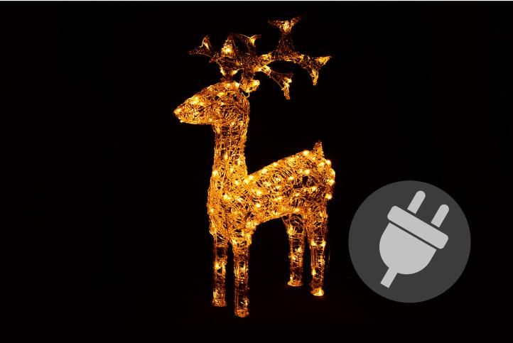 Svetelná dekorácia vianočný sob - 100 cm, teple biely