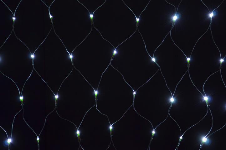 Vianočné osvetlenie - LED svetelná sieť 1,2 x 1,9 m - studená biela, 160 diód