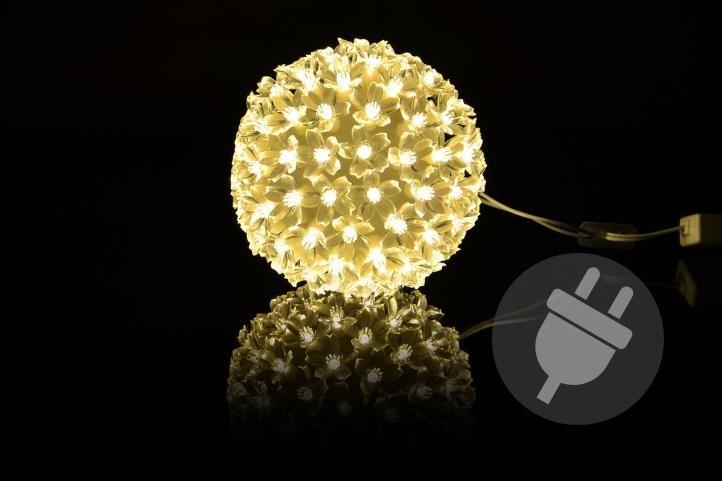 Vianočná dekorácia - LED svetelná guľa, teple biela