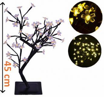 Dekoratívne LED osvetlenie - strom s kvietkami, teple biely