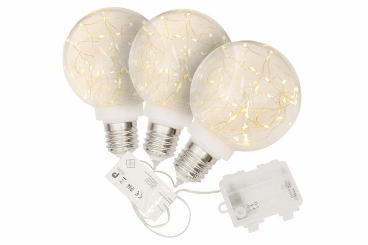 Vianočná dekorácia- žiarovka, 3 ks, 30 LED, teplá biela