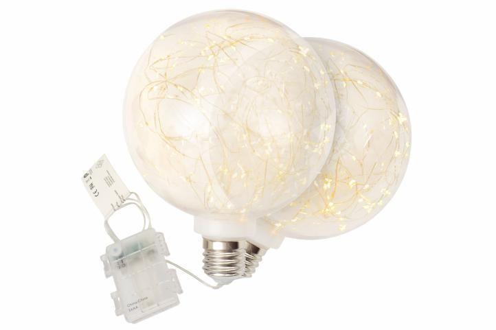 Vianočné dekoráčné žiarovky, sada 2 ks, 80 LED, teplá biela