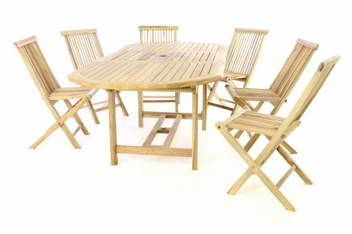Záhradný nábytok DIVERO z teaku - stôl + 6 stoličiek