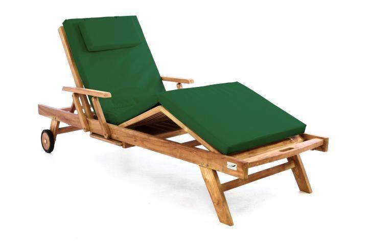 Záhradné drevené lehátko DIVERO z teakového dreva s podložkou - tmavozelená