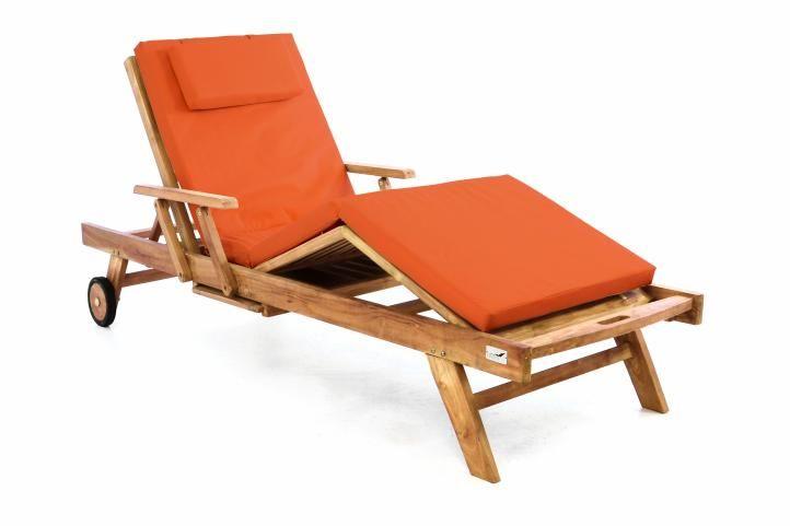 Záhradné drevené lehátko DIVERO z teakového dreva s podložkou - oranžová