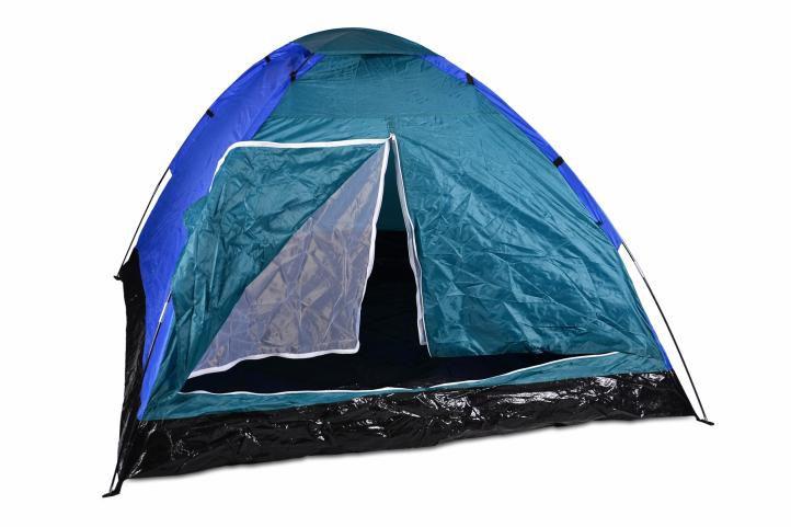 Kempingový stan pre 4 osoby - modrá / čierna