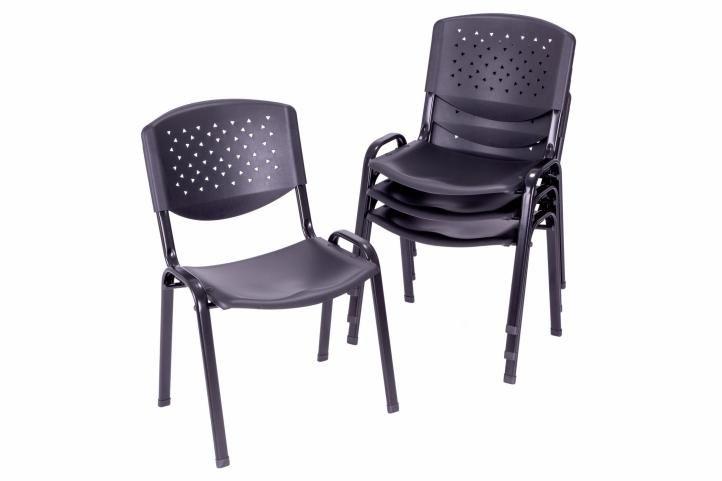 Sada stohovateľných stoličiek, čierna - 4 ks