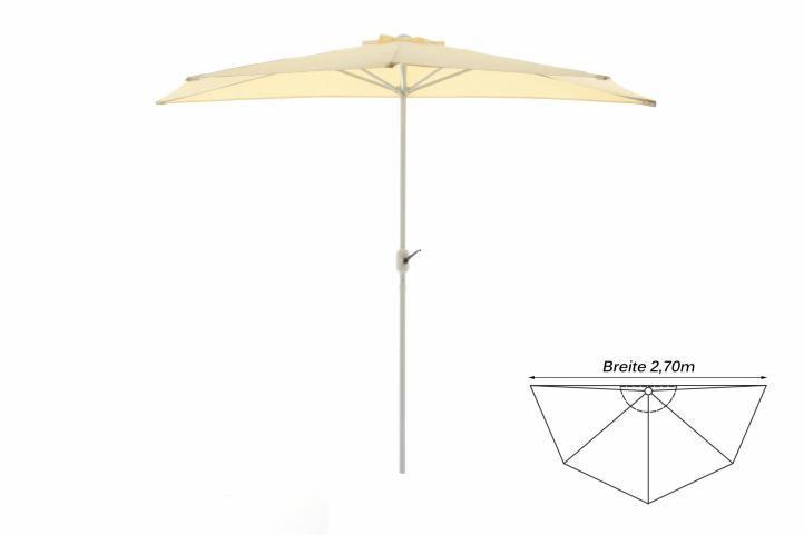 Polkruhový záhradný slnečník - béžový - 2,7 m