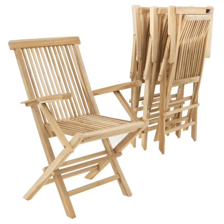 Sada 4 ks záhradných skladacích stoličiek DIVERO - teak