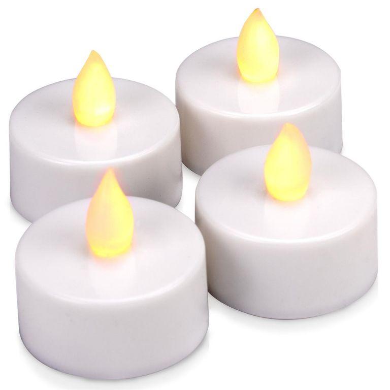 Dekoratívna LED sada - 4 čajové sviečky - teplá biela