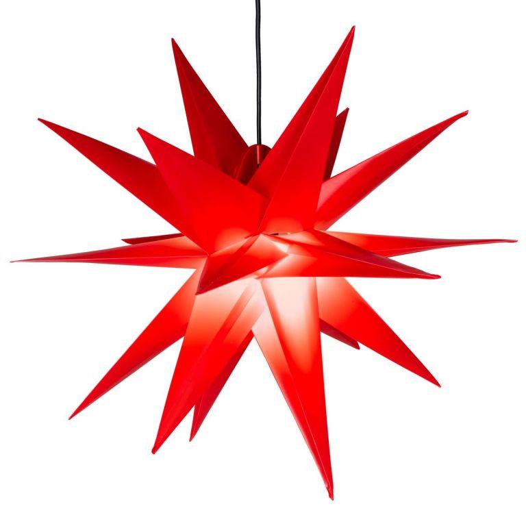 Vianočná dekorácia - hviezda s časovačom, 55 cm, červená