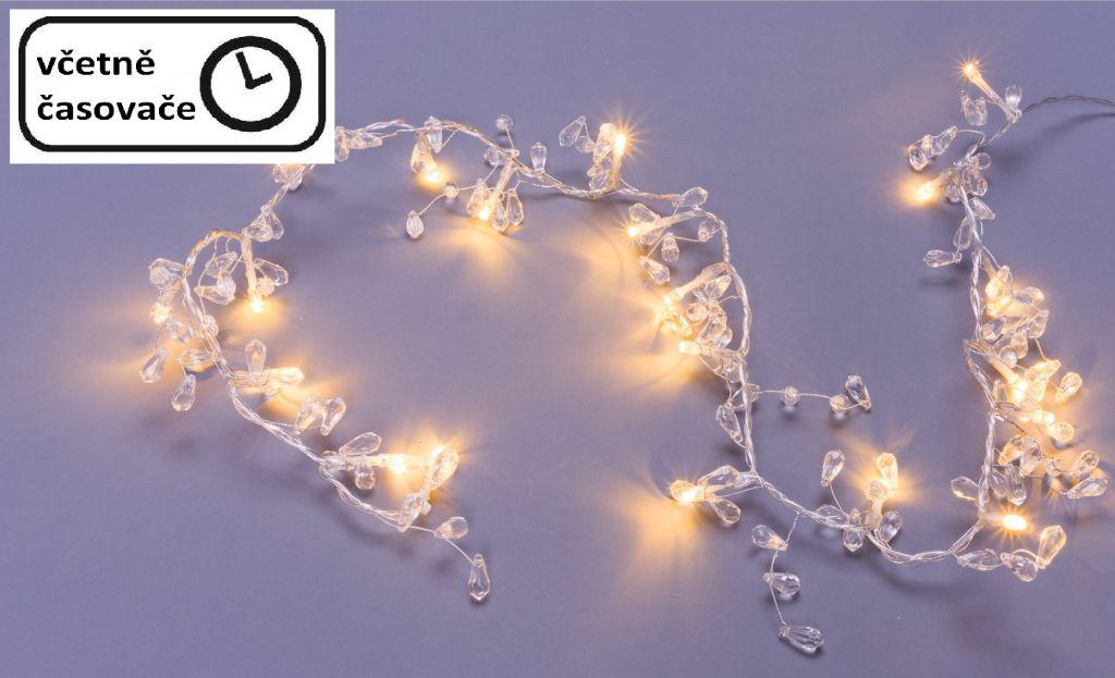 Reťaz s trblietavými kryštálmi - 20 LED, teple biela