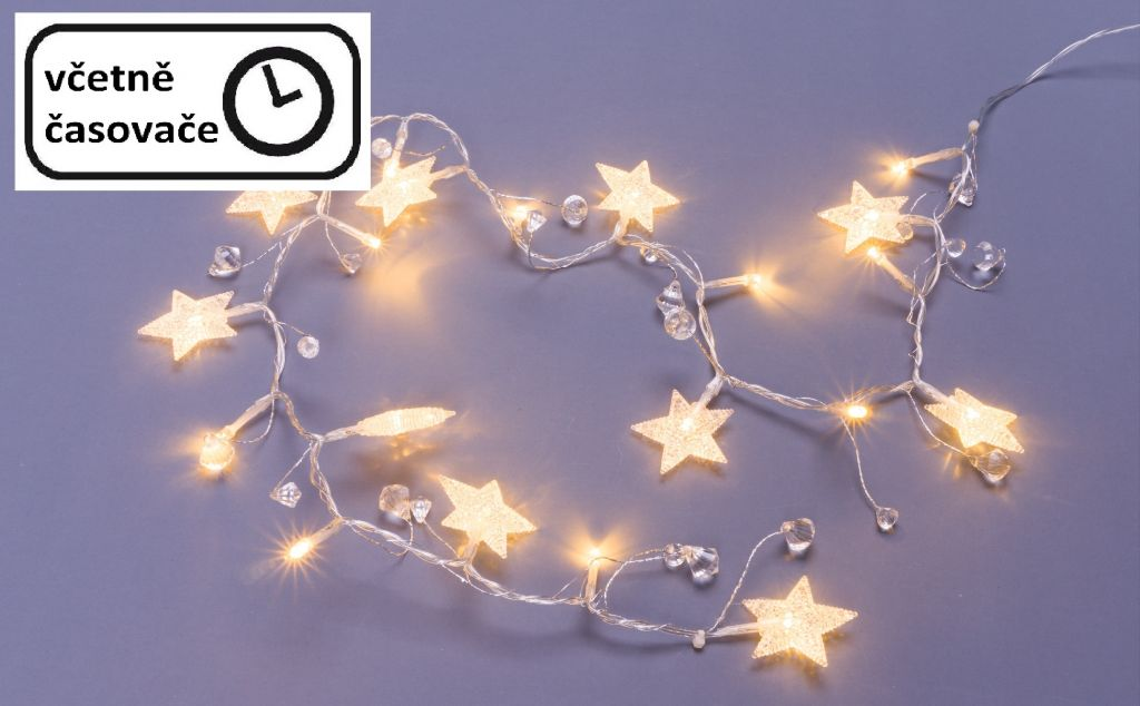 Dekoratívna reťaz 20 LED - hviezdy a kryštály, teplá biela