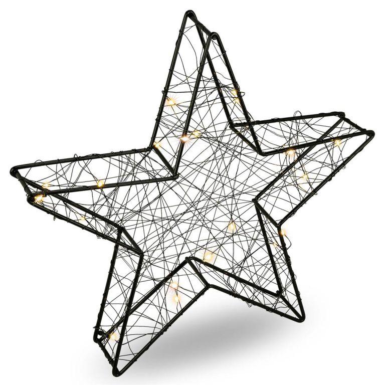 Vianočná kovová hviezda s 3D efektom - čierna, 25 LED diód