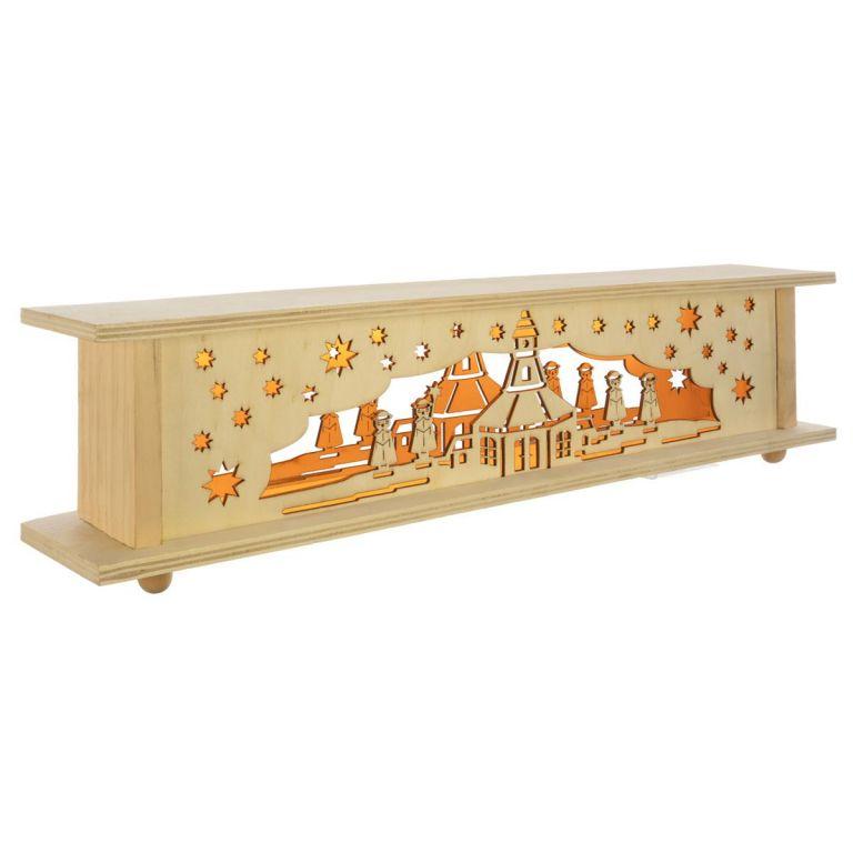 Vianočná drevená dekorácia, 10 LED