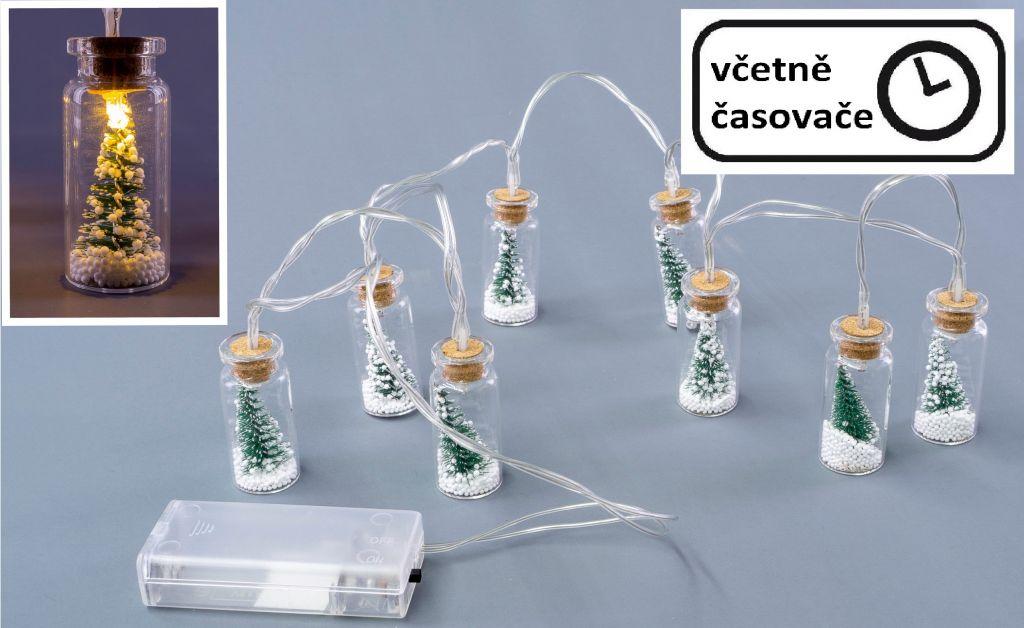Vianočná dekoratívna reťaz - 8 LED mini poháre so stromčekmi