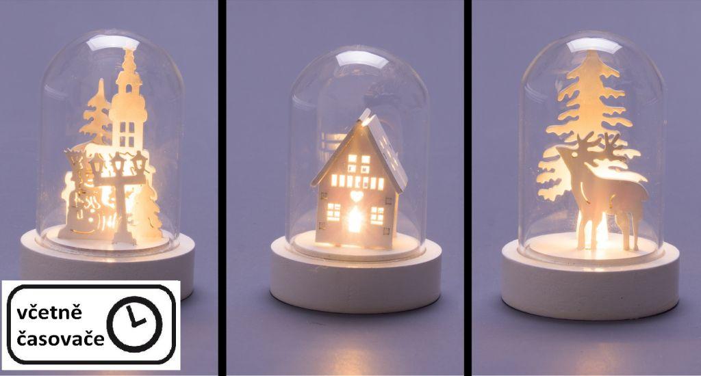 Vianočná svietiaca dekorácia - sklenená kupola, 3 ks