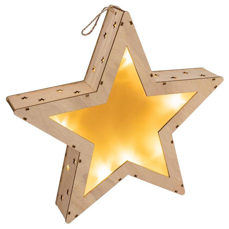 Vianočná drevená hviezda s 3D efektom, 10 LED