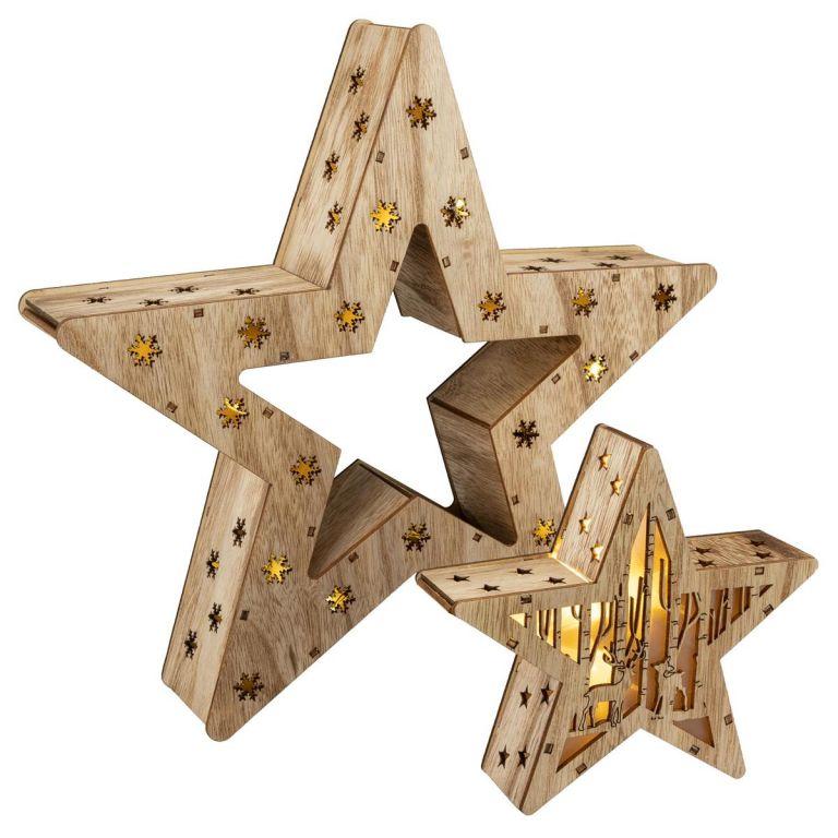 Sada 2 drevených vianočných hviezd - 15 LED