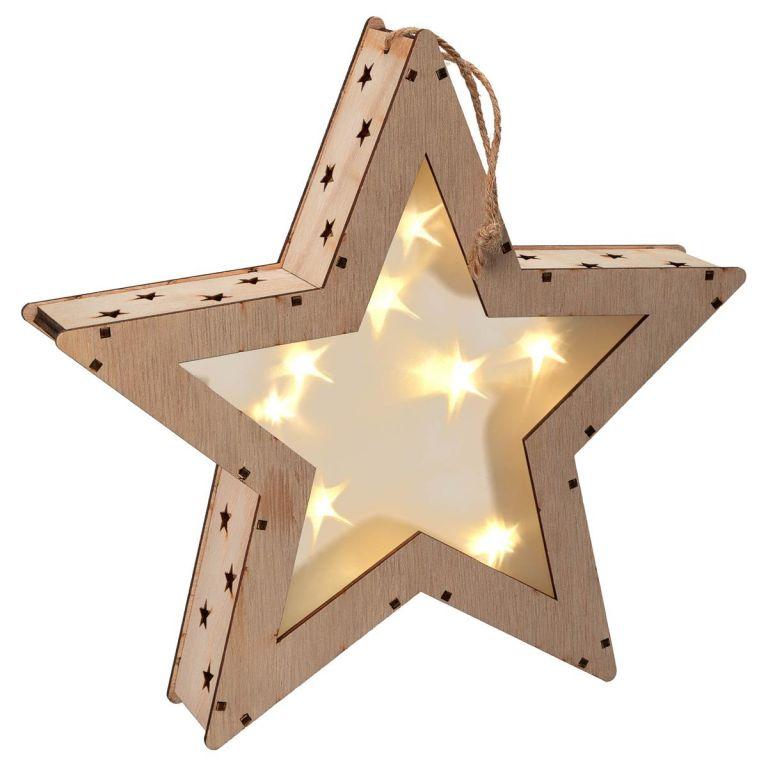 Vianočná drevená hviezda s 3D efektom, 8 LED