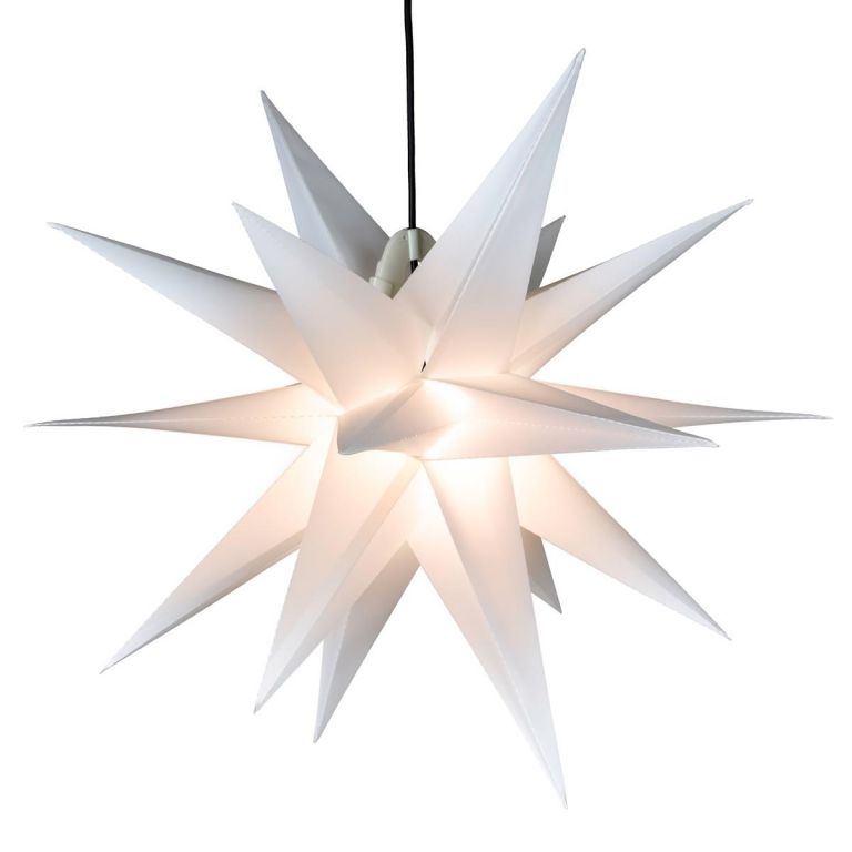 Vianočná dekorácia - hviezda s časovačom 1 LED, 55 cm, biela