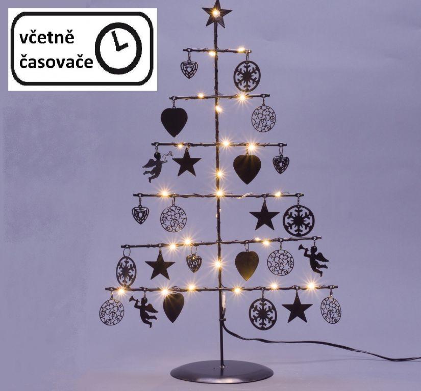 Vianočný kovový strom - čierny, 25 LED, teple biela
