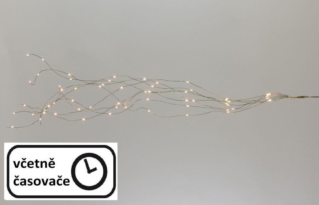 LED osvetlenie strieborný drôt - teple biely, 64 LED