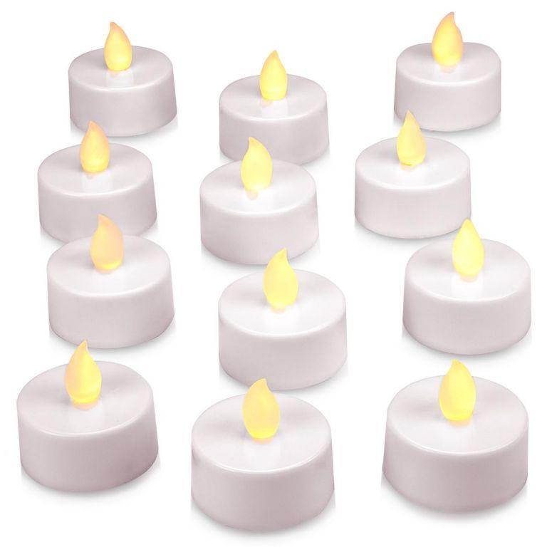 Dekoratívna LED sada - 12 čajových sviečok - teplá biela