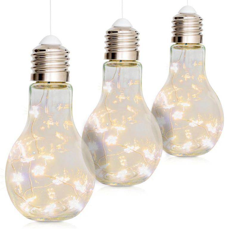 Vianočná dekorácia žiarovka, 3 ks, 10 LED, teple biela