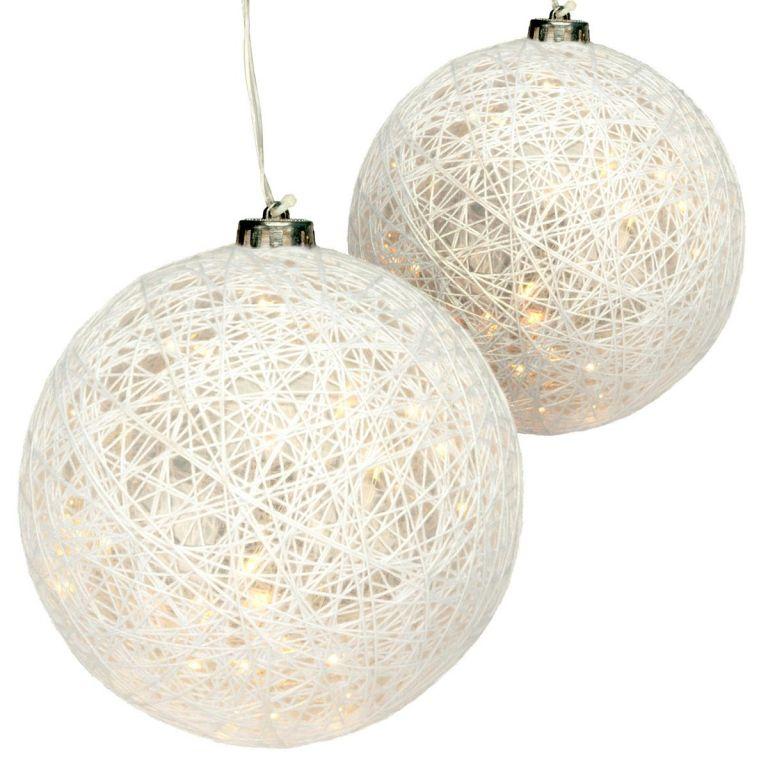 Sada 2 dekorovaných gulí, 40 LED, teplá biela