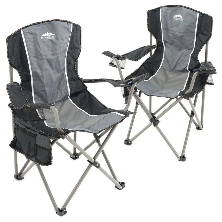 Sada 2 ks skladacích stoličiek - sivá, čierna