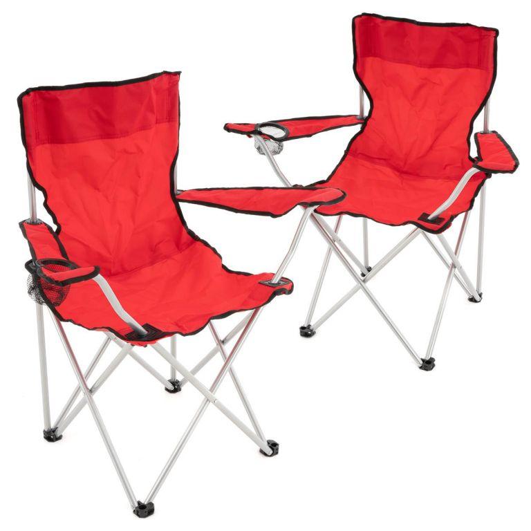 Set červených skladacích kempingových stoličiek