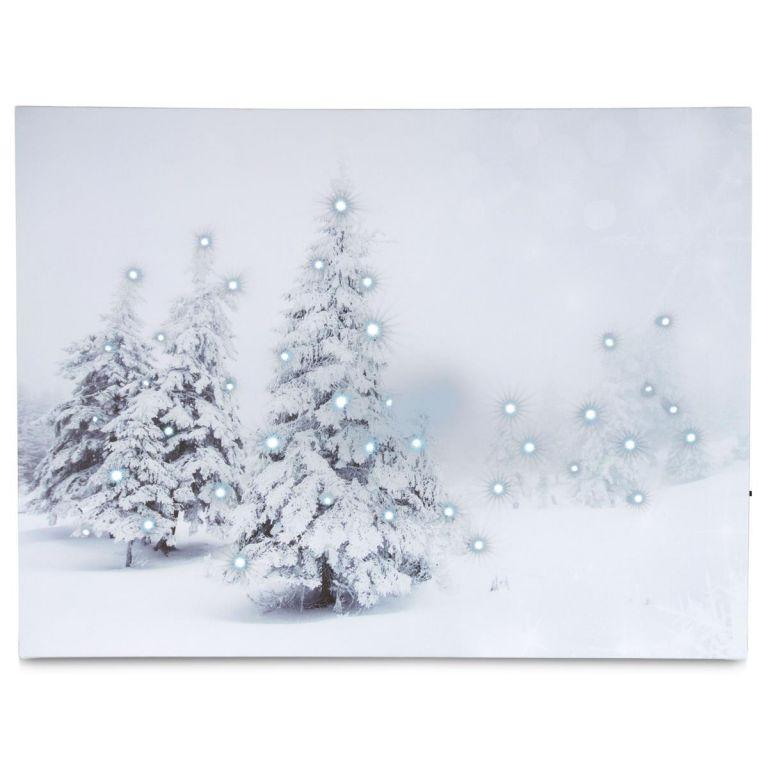 Nástenná maľba Zimný les - 40 LED,  30 x 40 cm