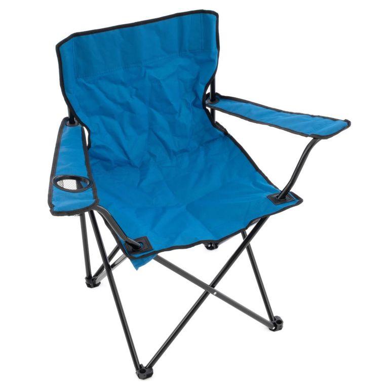 Skladacia kempingová stolička s držiakom nápojov - modrá