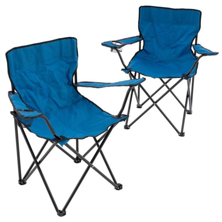 Sada 2 skladacích kempingových stoličiek - modrá