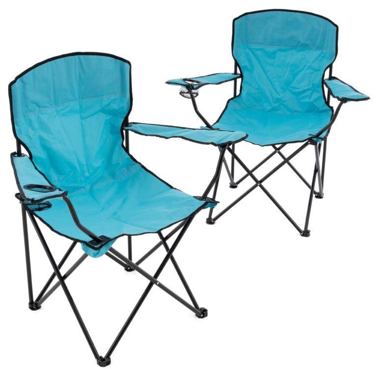 Sada 2 skladacích kempingových stoličiek - svetlomodrá