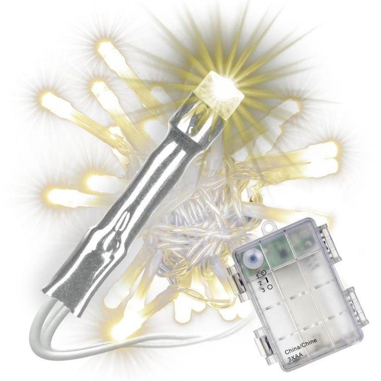 Sada 3 ks svetelných reťazí s časovačom - 30 LED,teplá biela