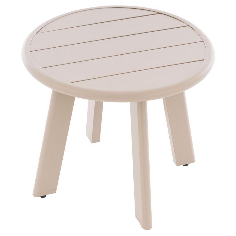 Okrúhly hliníkový stolík, béžový