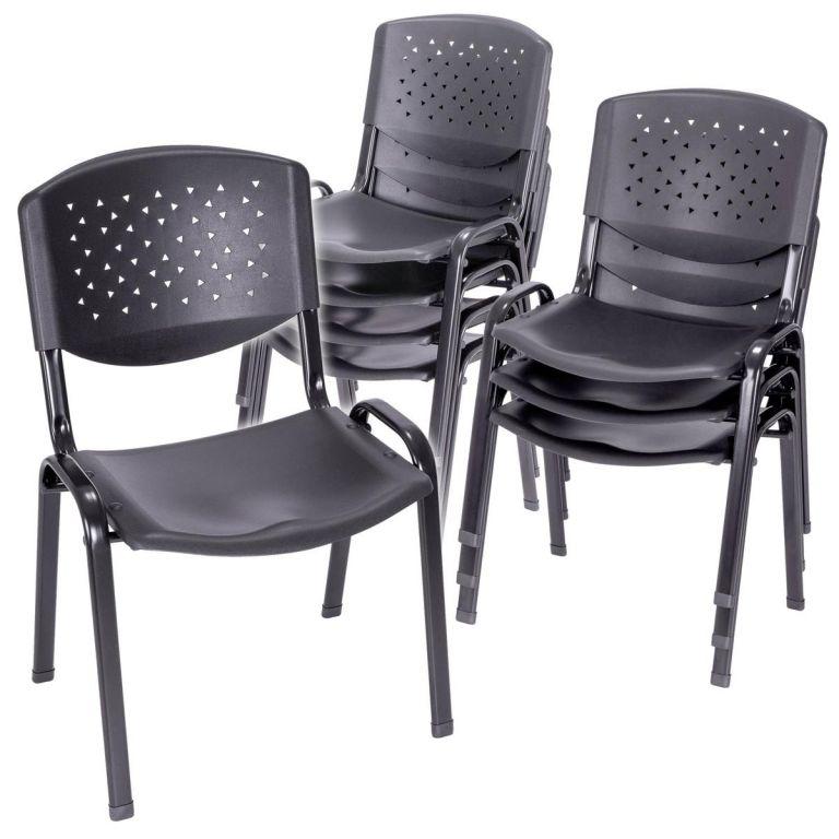 Sada stohovateľných stoličiek, čierna - 8 ks