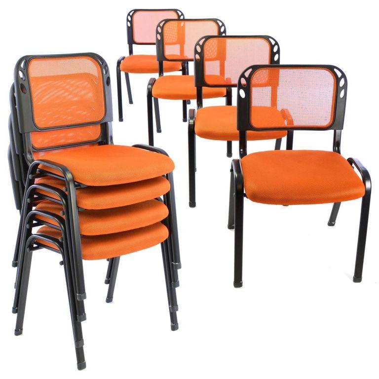 Sada stohovateľných stoličiek - 8 ks, oranžová